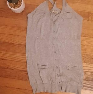 Gray button up tank top sweater